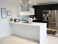 Scandinavian home, black and white interior, kitchen