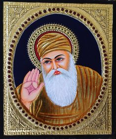 Your decor will bear a sophisticated and cultured look when adorned with this striking Tanjore painting featuring the founder of the Sikh religion, Guru Nanak. Mughal Paintings, Tanjore Painting, Indian Paintings, Farmer Painting, Guru Nanak Wallpaper, Rajasthani Art, Nanak Dev Ji, Religious Photos, Flower Phone Wallpaper