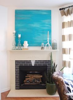 summery mantle - diy canvas painting
