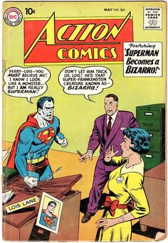 Size: x The Superman Bizarro - 1960 (Grade WH. Action Comics Multiple art pages can easily be combined because they are light and thin. For instance, two statues require a much bigger box. Old Superman, Superman Action Comics, Superman And Lois Lane, Supergirl Superman, Superman Comic, Dc Comics Art, Superman Family, Superman Logo, Batman