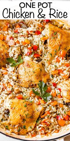 This One Pot Chicken and Rice recipe is a whole meal - tender, pan seared chicken thighs, sautéed veggies, and creamy rice. A simple weeknight dinner idea! Chicken Rice Recipes, Easy Rice Recipes, Healthy Recipes, Delicious Recipes, Crockpot Recipes, Kid Recipes, Paleo Meals, Family Recipes, Turkey Recipes