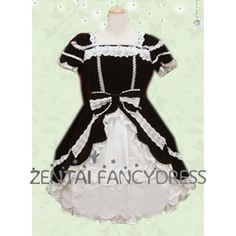 Short Sleeves Square Neck Multi Layers Black And White Gothic Lolita Dress