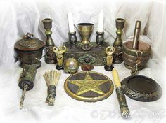 Power Of Creation Altar Set, Ritual Set, Cup, Wand, Pentacle Tile, Spell Box, Candles, Figurines, Broom, More- Wiccan, Pagan. thewitcheryshop via Etsy.