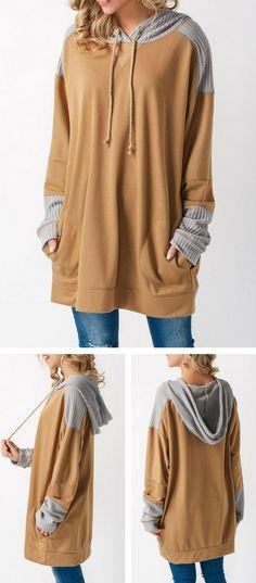 Pocket Long Sleeve Patchwork Khaki Hoodie