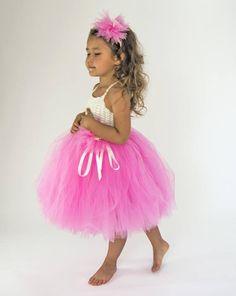 Marfil y Pınk Tutu Dress.Flower niña tul vestido de niña con