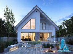 Dostępny - niewielki dom z nowoczesnymi akcentami Home Building Design, Home Design Plans, Building A House, Exterior Paint Colors For House, Dream House Exterior, Modern Bungalow Exterior, Modern Farmhouse Exterior, Modern Rustic Homes, Small House Plans