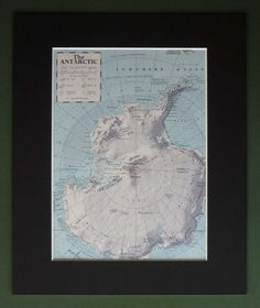 Vintage Mounted Map of the Antarctic Vintage by PrimrosePrints #vintage #print