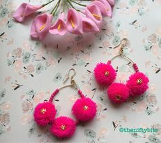 Bright Pink pompom earrings Indian.