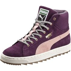 Suede Winterized Rugged Mid Women's Sneakers ($70) ❤ liked on Polyvore featuring shoes, sneakers, grip trainer, suede shoes, suede leather shoes, puma shoes et puma trainers