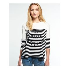 Superdry Nordic Breton T-shirt (130 SEK) ❤ liked on Polyvore featuring tops, t-shirts, black, crew neck tee, 3/4 length sleeve t shirts, 3/4 sleeve tops, crew t shirts and breton tee