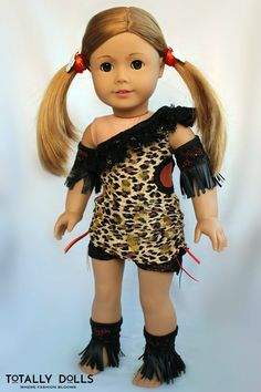 Leopard Unitard One-Shouldered Dance Costume to fit American Girl dolls by TotallyDolls