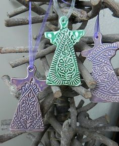 Christmas Ornaments Paisley Lace Angel Ceramic Christmas Ornaments  Winter Home Decoration Gift Set of 3
