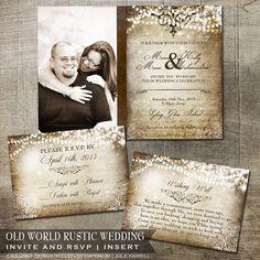 Rustic Vintage Old World Wedding Photo Invitation RSVP Insert Card Wishing Well DIY Printable Invitations Leather rustic wedding