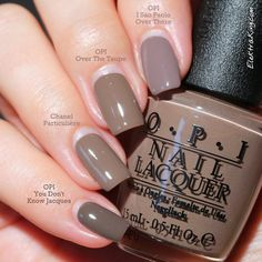 OPI You Don't Know Jacques, Chanel Particuliere, OPI Over The Taupe, and OPI I Sao Paulo Over There Swatch by Elektra King