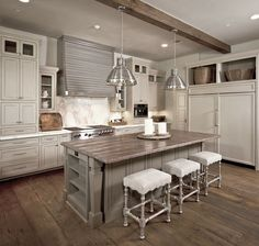 Suzie: The Owen Group - Amazing two-tone kitchen design with box beams, ivory antique finish ...