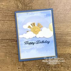 Click here to see a modified way to use the Give it a Whirl Dies with the Sending Sunshine Stamp Set to create a card where the ray of light spin as the sun peeks above the clouds. There are a few special steps to take, and I use tools such as the Stampin' Cut & Emboss Machine, the Heat Tool to emboss, and the Stamparatus. But the card is well worth it. Access measurements, more photos, a how-to video with directions, and links to the products I used. - Stampin' Up!® - Stamp Your Art O... Spinner Card, Birthday Cards, Happy Birthday, Online Paper, Interactive Cards, Card Making Inspiration, Paper Pumpkin, Close Up Photos, Sticky Notes