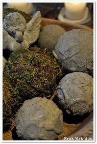 Krek Wak Wou: DIY: rustieke decoratie- en mosballen Natural Christmas, Christmas Diy, Decorative Plaster, Rustic Interiors, Xmas Decorations, High Tea, Decoupage, Diy Home Decor, Diy And Crafts