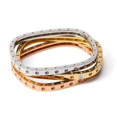 """white, yellow and rose gold bangle bracelets from the """"Pois Moi"""" collection Diamond Bracelets, Gold Bangles, Bangle Bracelets, Silver Bracelets, Coin Jewelry, Jewelery, Silver Jewelry, 925 Silver, Silver Ring"""