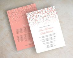 Coral and gray polka dot wedding invitation, modern, confetti, glitter wedding invitation, coral, grey, peach, shimmer invitations, Glitter. www.appleberryink.com Starting at $75 per 25 invitations. RSVP cards sold separately.