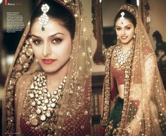 Sequined velvet and raw silk Lehenga by Sabyasachi on HELLO! India October 2012