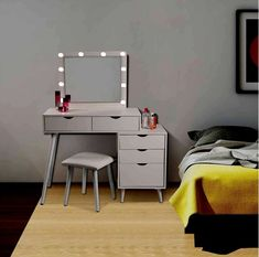 - Set Masa toaleta cosmetica machiaj, 80 cm, cu oglinda make-up, masuta vanity - Alb Makeup Dressing Table, Office Desk, Vanity, Led, Mirror, Bedroom, Furniture, Home Decor, Houses