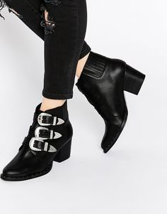 Bild 1 von ASOS – REBEL –  Western Ankle Boots aus Leder