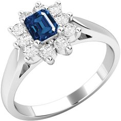 An elegant sapphire & diamond cluster style ring in 18 ct. white gold