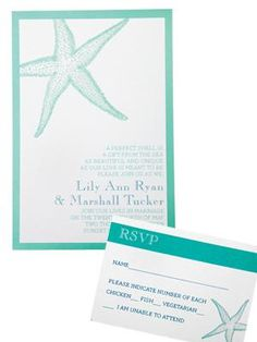 Teal and white wedding invitations