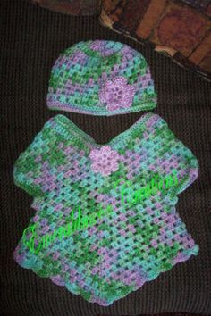 Infant Poncho And Hat - Free Crochet Pattern - (emeraldmooncreations.tripod)