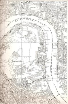 Surrey Docks, Rotherhithe, Canary Wharf, Wapping map, 1984