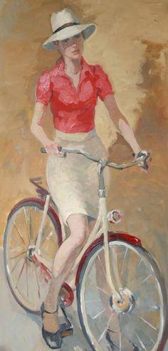 Katya Gridneva - Painter from Milliande Contemporary Artists Spotlights Katya Gridneva Катя Гриднева 1965 Bicycle Print, Bicycle Race, Bicycle Girl, Bike Rides, Bicycle Design, Figure Painting, Painting & Drawing, Eslava, Bicycle Pictures