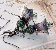 Lucite Earrings Flower Earrings 'Fumitory' by EnglishVintageDesign