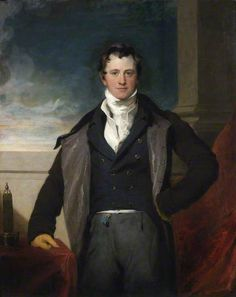 Sir Humphry Davy, 1st Baronet (1778–1829) was a Cornish chemist and inventor. In this 1821 portrait by Sir Thomas Lawrence, Davy is portrayed in fashionable Regency dress: a high white stock and white waistcoat with a black jacket and matching overcoat, the latter open to reveal a silk lining. He also wears gray trousers with a blue ribbon at the waist and kidskin gloves. Notice also the miner's safety lamp near his hand (Davy's design).
