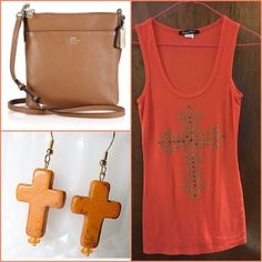 Orange Bling Cross Tank Top Cute never worn tank tank w/bling cross on front of tank top. Juniors size medium 9-11 misses size 8-10 can fit it as well. Only the tank is for sale nothing else. It will come from a smoke free & pet free home. Pls submit offers thru the offer button TRADESPAYPAL. Thanks for stopping by & God Bless  Peer Tee Tops Tank Tops