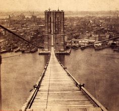 1870s Brooklyn Bridge, NY cityscape Cool blog, too!