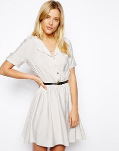 Image 1 ofASOS Shirt Dress With Military Detail And Belt