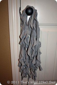 DIY t-shirt ruffled scarf
