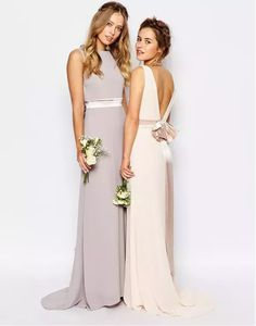 Beaded Strap Pleated Split Front Long Chiffon Bridesmaid Dress