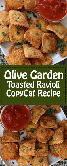 The Olive Garden Toasted Ravioli is the perfect appetizer to serve at your next party.  #ravioli #copycat #olivegarden #appetizer Yummy Appetizers, Appetizer Recipes, Dinner Recipes, Party Appetizers, Party Recipes, Enchiladas, Tostadas, Olive Garden Recipes, Olive Garden Appetizers