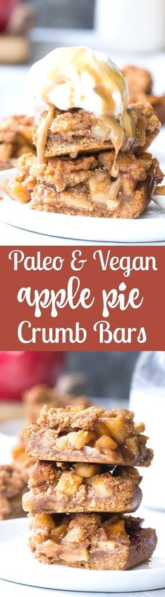 These Paleo apple pi  These Paleo apple pie bars have a delicious almond butter crust and crumb top and perfect gooey sweet apple pie filling!  They're a fun fall dessert to make and eat with kids, gluten-free, dairy-free, paleo and vegan.  https://www.pinterest.com/pin/538039486724442325/