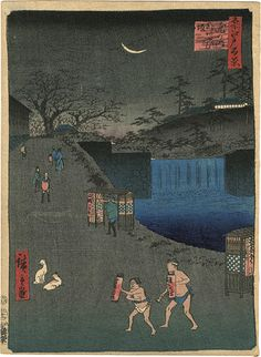 100 Famous Views of Edo  Series Aoi Slope, Outside Toranomon Gate by Hiroshige I / 名所江戸百景 虎の門外あふひ坂 広重初代