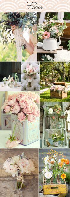 Vintage wedding inspiration flowers decoration