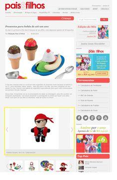 Um produto da Elo7 foi publicado no Portal da Revista Pais e Filhos, em matéria com sugestões de presentes para o Dia das Crianças, para crianças de até um ano.