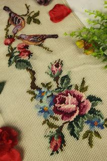 Beautiful Vintage Chic Handmade Petit Point Needlepoint Canvas in Crafts, Needlecrafts & Yarn, Embroidery & Cross Stitch, Finished Embroidered Pieces, Finished Needlepoint Pieces Cross Stitch Charts, Cross Stitch Embroidery, Embroidery Patterns, Hand Embroidery, Cross Stitch Patterns, Hobbies And Crafts, Diy And Crafts, Needlepoint Canvases, Baby Knitting Patterns