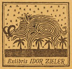 Ex Libris - Idor Zieler. Ex Libris, Woodcut Art, Linocut Prints, Vintage Graphic Design, Graphic Art, Book Of Kells, Graphic Illustration, Book Art, Printing