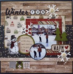 I just LOVE this collection by Carta Bella. As soon as I saw it, I knew I had to have it and then as soon as I got it, I pulled out some old winter photos and got to work. Just some photos of my oldest practicing his skating at the local park. Christmas Scrapbook Layouts, Scrapbook Paper Crafts, Scrapbook Cards, Scrapbook Cover, Winter Fun, Winter Christmas, Christmas Crafts, Winter Snow, Scrapbook Layout Sketches