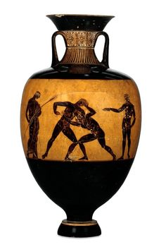 Pottery: Panathenaic amphora; Athena between two Doric columns topped by figures of Triptolemus in chariot; inscription TONATHENETHENATHLON to left of Athena, KITTOS EPOISEN to right. Classical Greek (late) 365BC-360BC (circa). © The Trustees of the British Museum