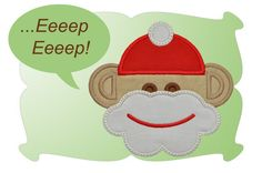 Sock Monkey Santa Applique - DigiStitches