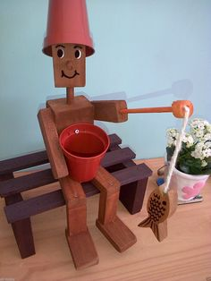 #wooden #flower #pot #man #fishing #fish handmade #birthday #gifts #garden #pond #facebook #rustic