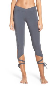 Free shipping and returns on Free People 'Turnout' Tie Up Leggings at Nordstrom.com. Hit the dance studio in these high-performance capri leggings crafted from breathable, stretchy microfiber that supports and flatters your legs. A surplice waistband contours to your shape and ties around the calves for a captivating look reminiscent of pointe shoes.